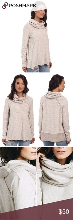 """Free People Beach Cocoon Cowl Neck Pullover Heathered cotton and a lushly draped cowl neckline soften this raglan-sleeve pullover casually styled with exposed-seam details and contrast trim. 27"""" length (size Medium/Large). 100% cotton. Machine wash cold, tumble dry low. No trades. Reasonable offers welcome. Free People Tops Sweatshirts & Hoodies"""