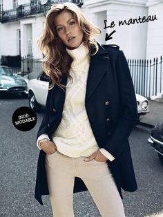 Gisele Bundchen: H&M Campaign Pictures Revealed!: Photo Check out Gisele Bundchen looking amazing as the star of H&M's Autumn/Winter 2013 Campaign, which were just released! Gisele Bündchen, Outfits Casual, Mode Outfits, Navy Blazer Outfits, Look Fashion, Fashion Models, Womens Fashion, Fall Fashion, Trendy Fashion