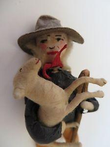 Unusual Antique German Spun Cotton Christmas Ornament Man Carrying a Sheep