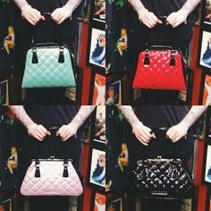 Need a new bag? :) which is your fave? shiny beautiful things in store now, or right here: http://blamebetty.com/bags-accessories.html #blamebetty #pinup #armcandy #rockabella
