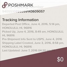 Tracking info Tracking info Other