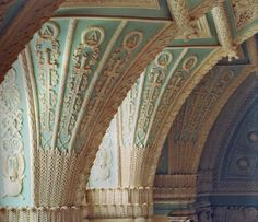 The Alexander Hall, detail of the fan vaults.  Hermitage Museum (formerly the Winter Palace), St. Petersburg, Russia.  From The Hermitage: The History of the Building and Halls.
