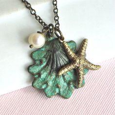 Starfish Shell Necklace -  Ocean Jewelry, Beach Jewelry, Verdigris Patina Brass