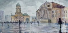 """Gendarmenmarkt"" - Painting, Oil on Canvas (60 cm x 30 cm) by (W)ortschnipsel"