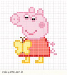 Cross Stitch Patterns Peppa Pig - As crianças adoram! Hama Beads Patterns, Beading Patterns, Embroidery Patterns, Cross Stitch For Kids, Simple Cross Stitch, Perler Bead Art, Perler Beads, Beaded Cross Stitch, Cross Stitch Embroidery