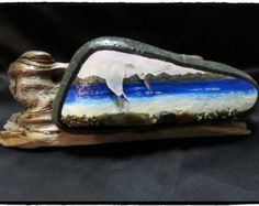 pebble art pebbleart painted rock stone ocean beach heron bird