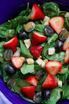 Strawberries, Jicama, Grapes, and Spinach with Fatfree Orange Mustard Dressing | Meet the Shannons
