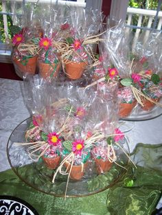 It is always fun for guests to leave a shower with a fun favor. When I gave a garden themed wedding shower for my daughter's friend Anna, I filled tiny clay pots with candies and tied them up with cellophane and raffia.