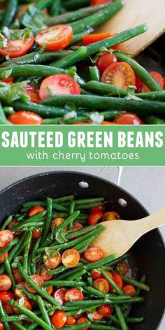 Side dish recipes 168040629833350586 - A simple side dish, these Sautéed Green Beans with Cherry Tomatoes are a great way to add veggies to your menu. So fresh and full of flavor! Source by tasteandtell Side Dishes Easy, Side Dish Recipes, Veggie Recipes, Salad Recipes, Chef Recipes, Green Vegetable Recipes, Green Veggies, Veggie Food, Fruit Recipes