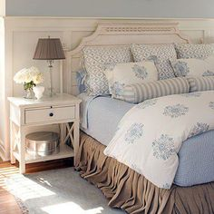 Pretty bedding except skirt; board and batten with blue and white wallpaper would look cottage-y, and dark furniture