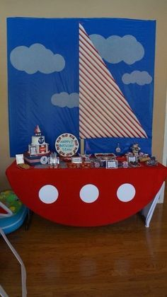 Sailor Theme for Rowins first Bday! Sailor Birthday, Sailor Party, Sailor Theme, Baby Birthday, 1st Birthday Parties, Boat Theme Parties, Anchor Birthday, Birthday Cake, Sailor Baby Showers