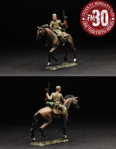 World War II Russian Army EFR-020 Red Cavalry Galloping with Burp Gun - Made by Figarti Military Miniatures and Models. Factory made, hand assembled, painted and boxed in a padded decorative box. Excellent gift for the enthusiast.