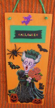 Halloween Sign  Bride of Frankenstein by mareestreasures on Etsy, $15.00