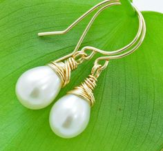 real freshwater pearls with gold (also have silver option).  etsy $45.00