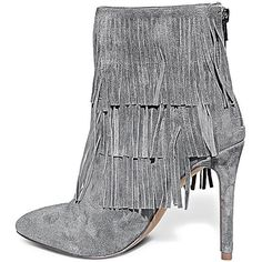 Steve Madden Women's Flappper Booties (21085 ALL) ❤ liked on Polyvore featuring shoes, boots, ankle booties, booties, ankle boots, grey suede, gray ankle boots, grey ankle boots, high heels stilettos and fringe booties