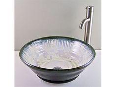 Ceramic Bathroom Vessel Sinks-Handmade Porcelain Vessel Sink - Ivory Crystal