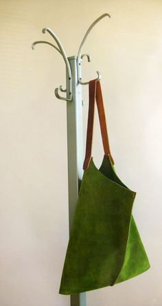 handmade leather bag in grass green