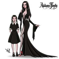 Morticia & Wednesday Addams by Armand Mehidri Morticia Adams, Gomez And Morticia, Dibujos Dark, Tim Burton Style, Halloween Drawings, Halloween Images, Halloween 2018, Adams Family, Wednesday Addams