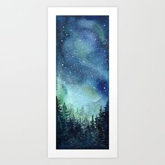Buy Galaxy Watercolor Aurora Borealis Painting Art Print by olechka Worldwide shipping available at Just one of millions of high quality products available Watercolor Night Sky, Space Watercolor, Watercolor Galaxy, Galaxy Painting, Galaxy Art, Watercolor Paintings, Acrylic Paintings, Watercolor Print, Watercolours