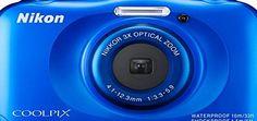 Nikon COOLPIX S33 Compact Digital Camera (13.2 MP, CMOS Sensor, 3x Zoom, 2.7 inch LCD) - Blue Nikon Coolpix S33 blau, 13 MP, 3x opt. Zoom (30-90mm), 2.7 LCD-TFTdigi. Bildstabilisator (VR), 1080p Video, Wasserfest bis 10m, Schlagfest aus 1.5m, einfache Bedienung, (Barcode EAN = 0018208944699) http://www.comparestoreprices.co.uk/december-2016-week-1/nikon-coolpix-s33-compact-digital-camera-13-2-mp-cmos-sensor-3x-zoom-2-7-inch-lcd--blue.asp