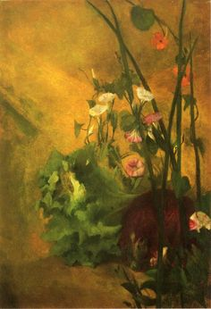 Morning Glories and Eggplant John La Farge - 1865