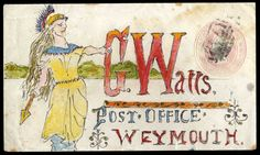 1854 (July 24th) envelope with watercolour illustration and address, depicting a strident Britannia, sent from Stamford to Weymouth.