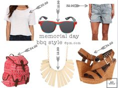 Casual BBQ outfit from 6pm.com Affordable and each piece is under $40 Style under 40