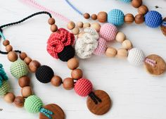 Flower Mama Nursing Necklace / Breastfeeding Jewelry - Baby Pink & White - Juniper Wood. $21.00, via Etsy.