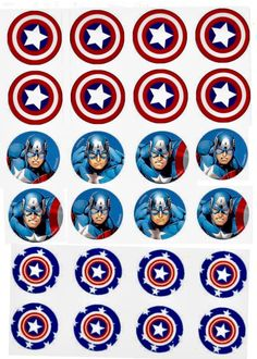 Captain America cupcake toppers Captain America Cupcakes, Captain America Party, Captain America Birthday, Happy Birthday Banners, Boy Birthday, Paper Plate Masks, Bottle Cap Images, Applique Patterns, Name Cards