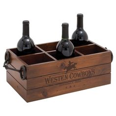 Bring western charm to your kitchen or cellar with this wood and metal wine rack, featuring a typographic motif and space for up to 6 of your favorite vintag...