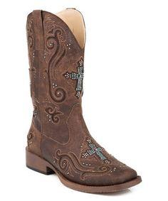 Brown Crystal Vintage Leather Cowboy Boot