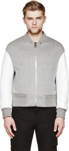 Neil Barrett: Grey & White Neoprene Oversize Bomber
