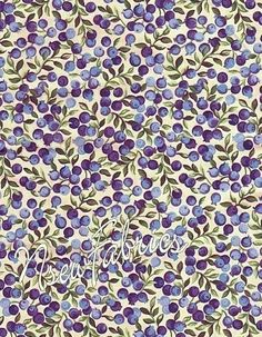 Wild Blueberry FABRIC Blue Berry Fruit COTTON Quilt Craft on Cream