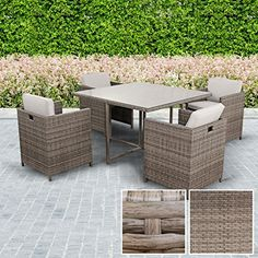 CUBE RATTAN GARDEN FURNITURE SET CHAIRS SOFA TABLE OUTDOOR PATIO WICKER 4 SEATS