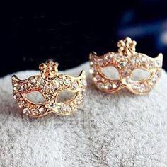 Fashion Style Mask Shaped Alloy Rhinestone Stud Earrings For Women