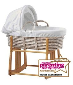 Wicker moses basket crib on wheels baby moses nursery for Drape stand for crib