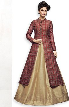 Maroon and Golden Floor length Gown for Party Floor length Gown, namaste fashion Indian Gowns Dresses, Pakistani Dresses, Indian Designer Outfits, Designer Dresses, Choli Dress, Kurti Skirt, Girl Fashion, Fashion Dresses, Long Gown Dress