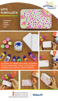 ¡Mirá qué fácil es esta técnica con ayuda de un isopo! Animate a la decoración puntillista.  Puntillismo #Témpera #Glitter #Pelikan #ExplosiónCreativaUy