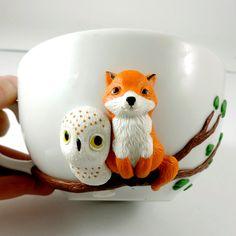 Fox owl mug, cute mug, polymer clay, red fox, owl mug, love