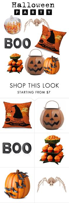 """""""Halloween Party"""" by helloitsjosie ❤ liked on Polyvore featuring interior, interiors, interior design, home, home decor, interior decorating, Tag, Crate and Barrel, Wilton and Improvements"""