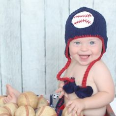 Navy blue hat with baseball is accented with red trim. Hat has earflaps with pom pom trimmed ties. So fun for your All Star! Knit Beanie, Beanie Hats, Newborn Knit Hat, Baby Boy Accessories, Baby Boy Hats, Toddler Headbands, Cute Hats, Toddler Boys, Kids