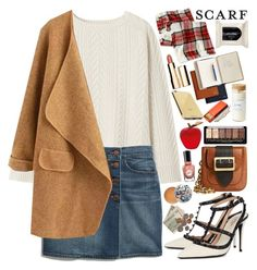 """""""It's a Wrap! Fun Fall Scarves"""" by martinabb ❤ liked on Polyvore featuring Toast, Madewell, Burberry, Valentino, Merona, H&M, Paul & Joe, Clarins, Sally Hansen and Goldgenie"""