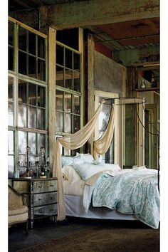 Shabby chic bedroom in a unique space. Very interesting take on the canopy bed. Brings to mind DIY project ideas! Dream Bedroom, Home Bedroom, Master Bedroom, Bedroom Loft, Shabby Bedroom, Canopy Bedroom, Pretty Bedroom, Sleeping Porch, Dresser With Mirror