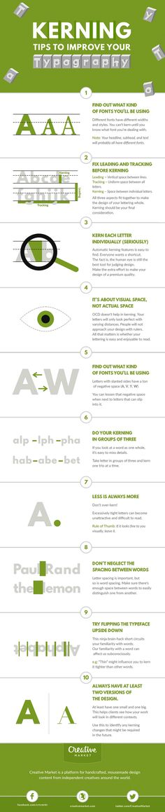 """Typography is an art. Good typography is art."" – Paul Rand. If you're a typography freak like us, you'll enjoy this handy infographic by Creative Market that shares some useful kerning tips and tricks to improve your typography. It covers some good points like kerning each letter individually, using visual space not actual space, and […]"
