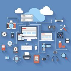 Internet of Things is probably on of the most rapidly growing market in the world right now. According to the Indian Government's IoT Policy, the IoT marke Internet Of Things, Sem Internet, Free Vector Art, Free Vector Images, Digital Asset Management, Risk Management, Best Icons, Flat Illustration, Illustrations
