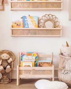 a cane book shelf using the FLISAT wall shelf from IKEA for this easy IKEA hack for your little kid's room. Nursery Room, Nursery Decor, Ikea Hack Nursery, Ikea Hack Bedroom, Wall Decor, Wall Art, Cane Shelf, Trofast Ikea, Kids Room Design