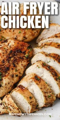 Air Fryer Chicken Breasts are so easy to make and only use a handful of ingredients! In 20 quick minutes, your entree will be ready to serve! #spendwithpennies #airfryerchickenbreast #recipe #airfried #juicy #moist Top Recipes, Cooking Recipes, Healthy Recipes, Recipies, Plain Chicken Recipe, Chicken Recipes, Actifry Recipes, Air Fryer Recipes Easy, Turkey Dishes