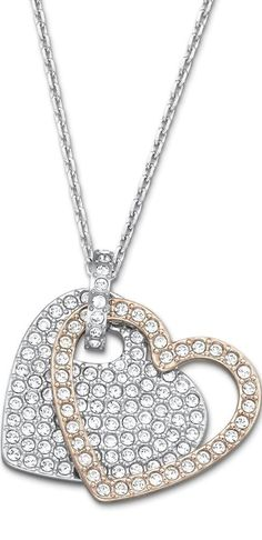 Swarovski Two-Tone Crystal Pave Double Heart Pendant Necklace