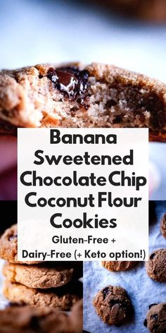 These banana sweetened coconut flour cookies with 100% chocolate chips, make for one healthy no sugar added baked treat without any of the guilt! Gluten-free, dairy-free, refined sugar-free, low-carb + keto diet friendly.#ketocookies #coconutflourcookies #bananacookies #lowcarbcookies #naturallysweetenedcookies