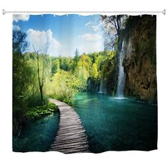 Best Home Decoration Stores Cheap Wall Tapestries, Tapestry Wall Hanging, Bathroom Curtains, Fabric Shower Curtains, Tropical Curtains, Cheap Bathroom Accessories, Forest Waterfall, Garden Waterfall, Tapestry Online